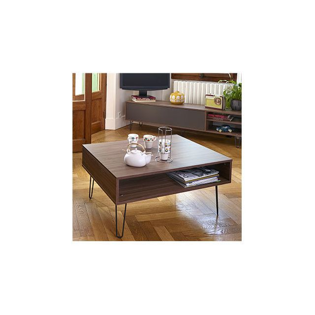 Table basse 89x67X42,2 cm noyer - Edison