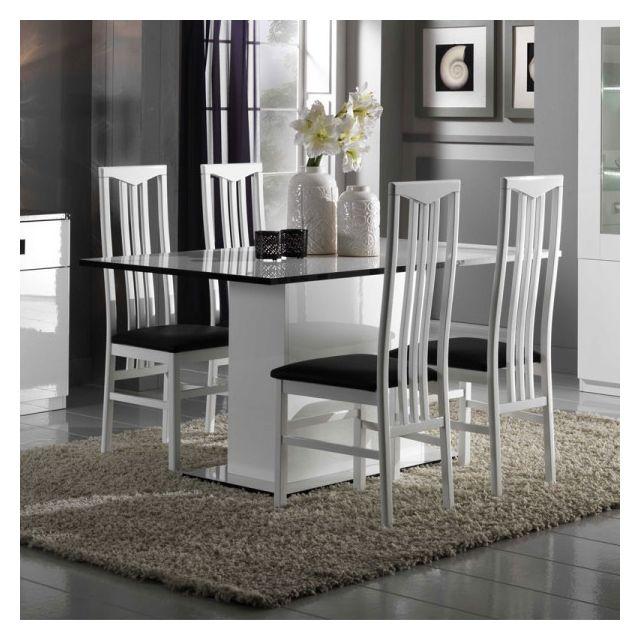 Dansmamaison Table de repas laquée Blanche - Zeme - L 160 x l 90 x H 77 cm