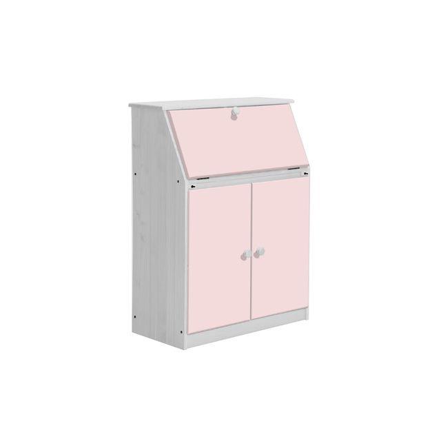 Bureau gain de place Hobby coloris blanc et rose
