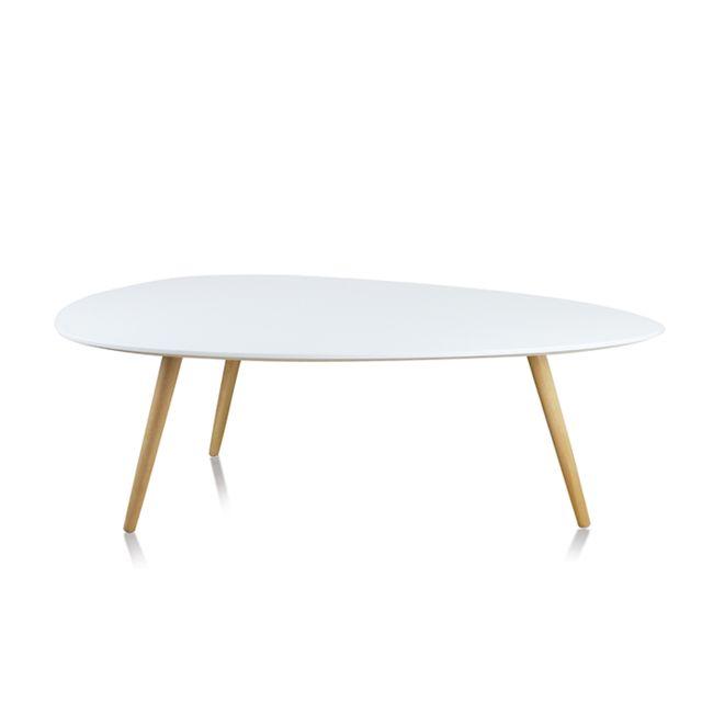 Oneboutic Table basse de salon blanche 110cm - Pristina
