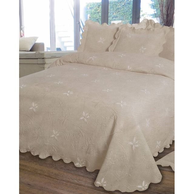 le linge de jules couvre lit piqu 2 personnes 220x260 taupe beige 220cm x 260cm pas cher achat vente couvertures et plaids rueducommerce - Dessus De Lit Taupe