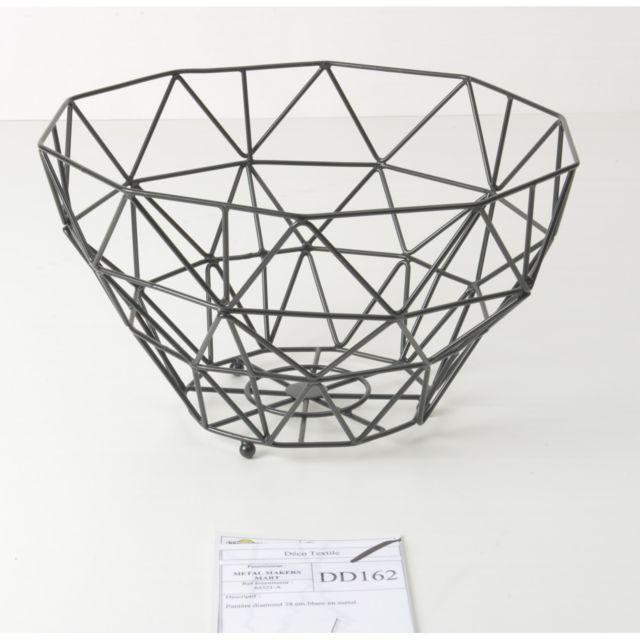 Panière Diamond losange en métal diamètre 30cm noir