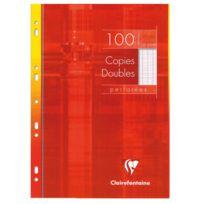 Clairefontaine - copie double blanche a4 grand carreaux 90g perforee - etui de 100