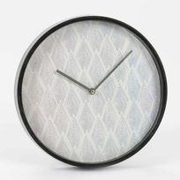 Horloge murale ronde en plastique noire et blanche D30cm Norvege
