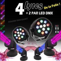 Ibiza Light - 6 jeux de lumiere 4 lyres wash8 3x8w + telecommandes + 2 parled dmx pa dj sono led light mix club bar disco danse sport soiree