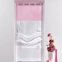 Decoline - Un store droit à passant - rideau voile bicolore blanc / rose dragee 45 x 180 cm