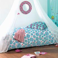 Little Big Room - Taie d'oreiller réversible 100% coton fleur rosace rose/bleu 63x63cm Salome