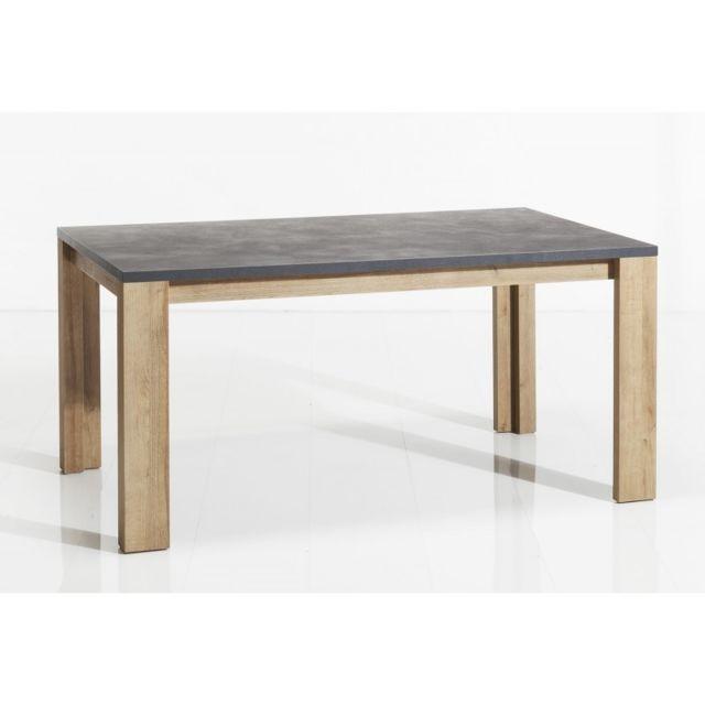 Meubletmoi Table de repas rectangulaire 160x90 avec plateau en bois effet béton gris - Valentina