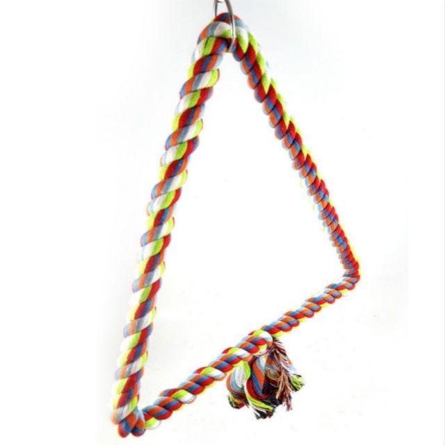 Wewoo Jouet pour Coton coloré corde oiseau perché escalade adouci Triangle Swing jouettaille 25x28cm
