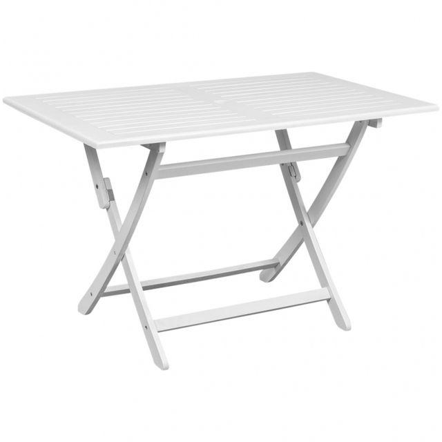 Casasmart Table de jardin blanche en Acacia