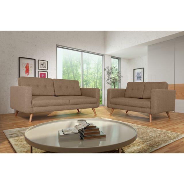 Rocambolesk Canapé Hedvig 3+2 savana 25 brun pieds naturels sofa divan
