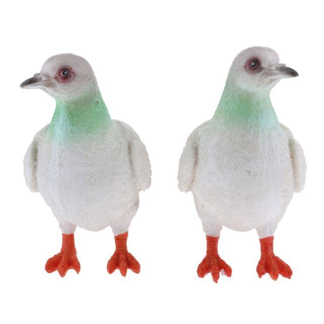 2x maison réaliste décor de jardin ornement pigeon colombe oiseau statue gris