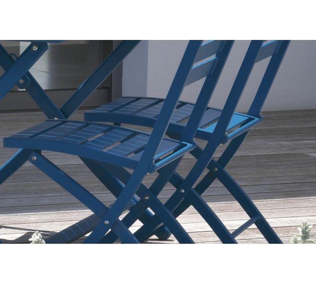 Dcb Garden Lot de 2 chaises pliantes en aluminium bleu riviera