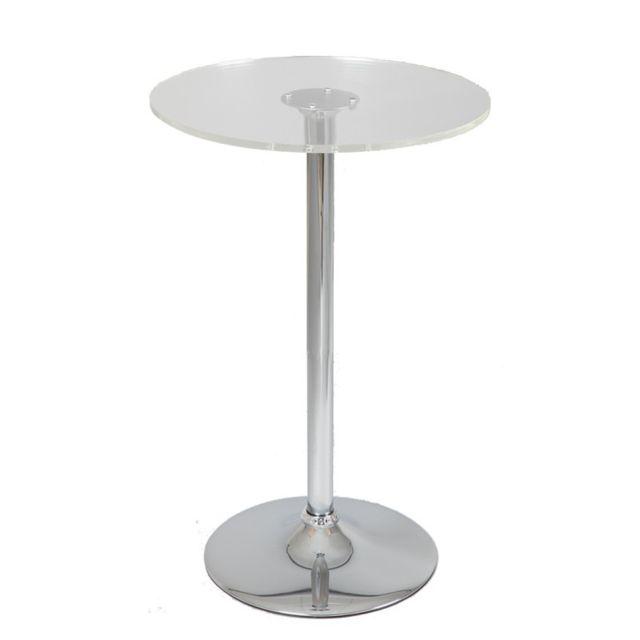 Tousmesmeubles Table de bistrot mange debout en verre - Esta - L 60 x l 60 x H 110