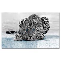 Declina - Tableau noir et blanc léopard sur toile imprimée - Prix bas