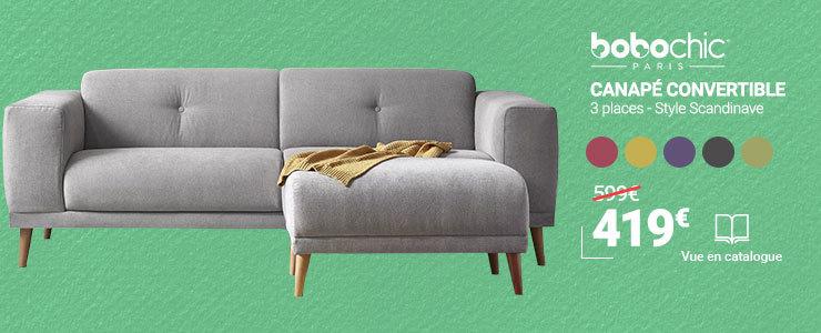 Canapé avec Pouf - Style Scandinave