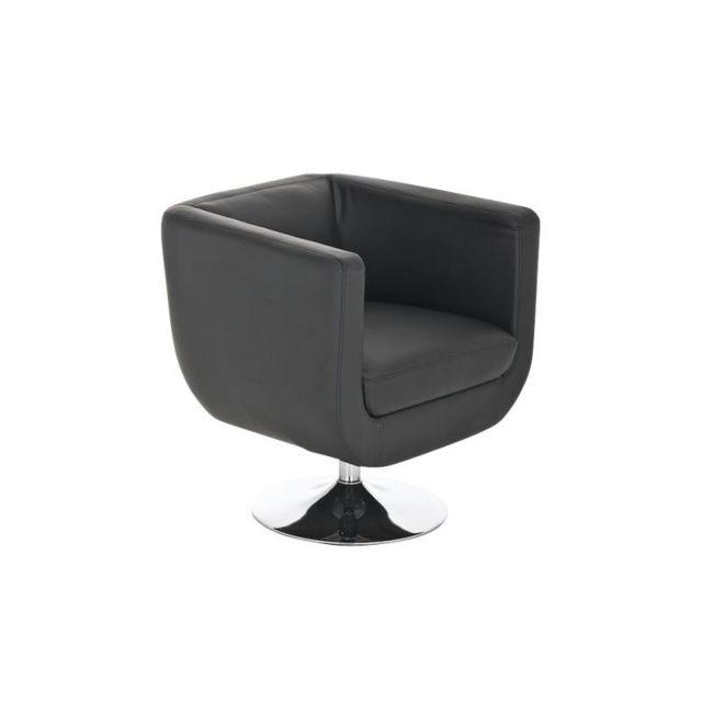 Autre Fauteuil lounge design pivotant simili-cuir noir Fal10007