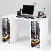 Simmob - Bureau Blanc 2 Caissons Rideaux Imprimés - Coloris - Taxis Jaunes 503