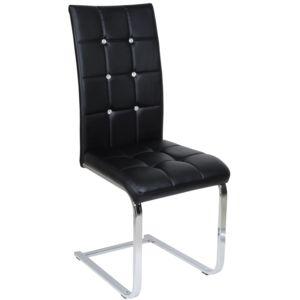 Comforium - Chaise capitonnée cuir synthétique noir et métal - pas ...