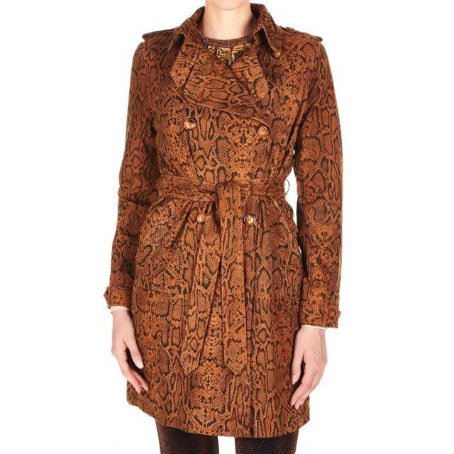Bully Land Bully Femme 6253SNAKEORANGE Marron Coton Trench Coat