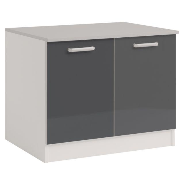 Last meubles sous vier ultra 120 cm gris brillant pas cher achat vente meubles de cuisine - Meuble sous evier 120 cm pas cher ...