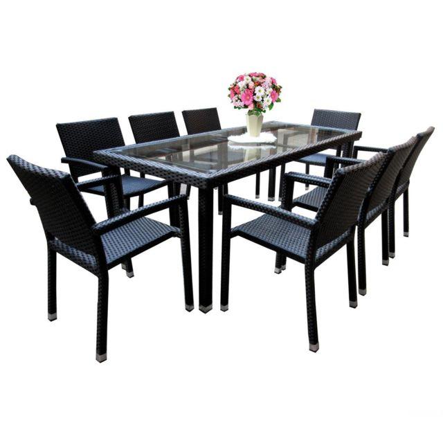 Wood En Stock - Salon de jardin 8 fauteuils en poly rotin table 192 ...