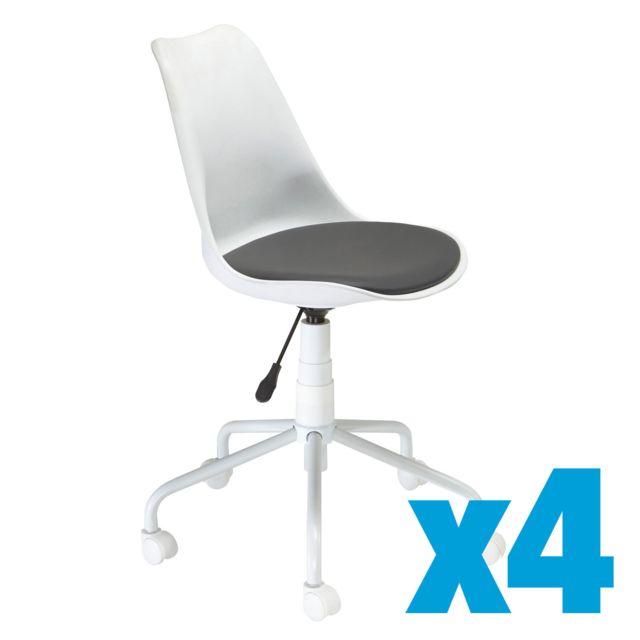 blanche Chaise Lot coque de 4 9eEDIb2YHW