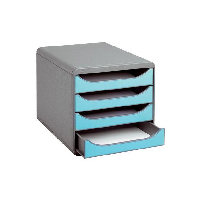 exacompta module de classement big box 4 tiroirs gris fonc turquoise pas cher achat. Black Bedroom Furniture Sets. Home Design Ideas