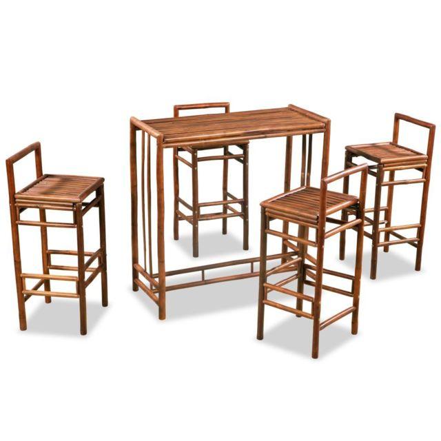 Splendide Ensembles de meubles selection Minsk Mobilier de salle à manger 5 pcs Bambou Marron