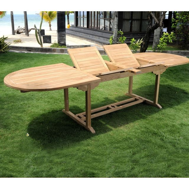Wood-en-Stock Table de jardin en teck brut Xxl 200-250-300 cm double rallonge