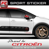 Run-R Stickers - Pw03 Nr - Sticker Powered by Citroen - Noir Rouge - pour C1 C2 C3 Ds3 C4 Ds4 Saxo aufkleber adesivi - Adnauto