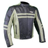 Karno-motorsport - Kc032 Blouson moto cuir Cafe Racer Vintage noir