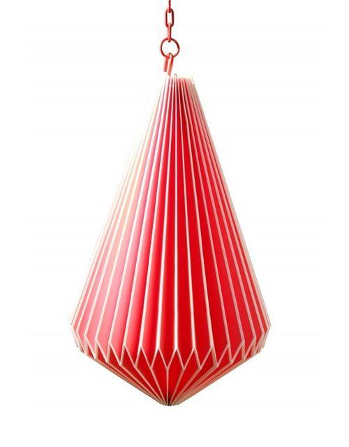 Decoshop Suspension origami en papier goutte rouge
