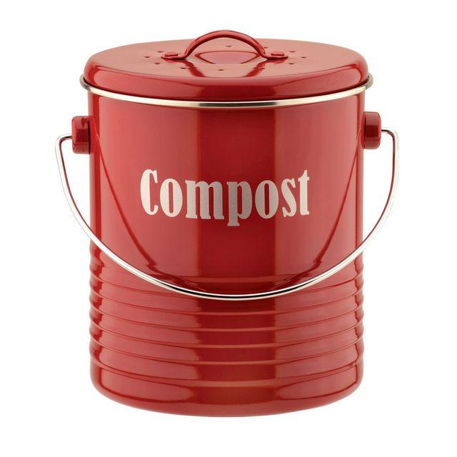 Typhoon Composteur en aluminium avec couvercle et filtre charbon 2.5L Vintage Kitchen - Rouge