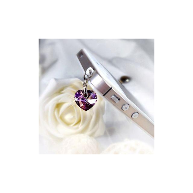 5aef61e793fca Blue Pearls - Accessoire Bijoux SmartPhone Coeur en Cristal de Swarovski  Elements Violet - Plug C0003