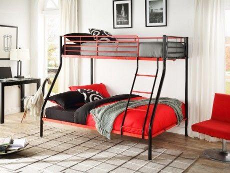 Lits superposés ELEVATIO III - 90 & 140x190cm - Noir et rouge