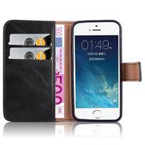 Cabling - Housse iPhone Se / 5 / 5S Etui en Pu Cuir noir Portefeuille avec fenetre Coque Absorbant les chocs, Anti-rayures, pour Apple iPhone Se / 5 / 5S