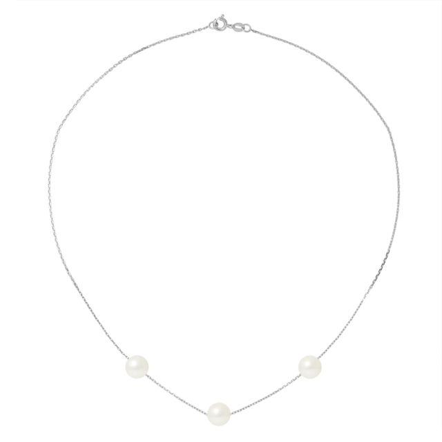 Blue Pearls Collier Ras du Cou Femme Chaine Forcat Or Blanc 750/1000 et 3 Perles de Culture Blanches - Bps 0254 W - Ob