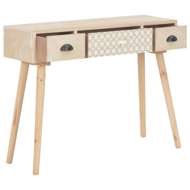 Icaverne - Buffets & bahuts reference Table console avec 3 tiroirs 100x30x73 cm Bois de pin massif