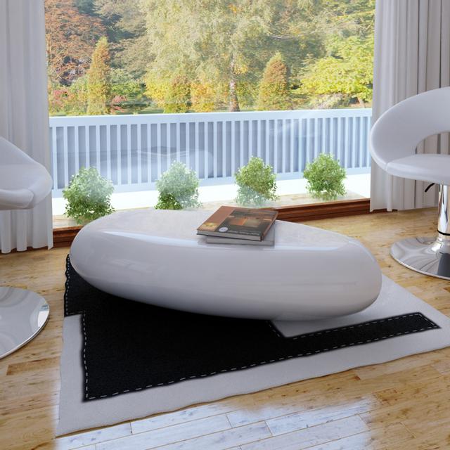 Vidaxl Table basse blanc fibre de verre