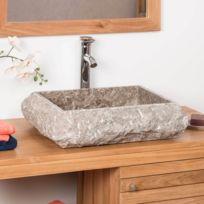 Wanda Collection - Vasque à poser rectangle en marbre Naples gris taupe