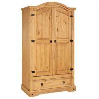 armoire penderie bois massif achat armoire penderie bois massif pas cher rue du commerce. Black Bedroom Furniture Sets. Home Design Ideas