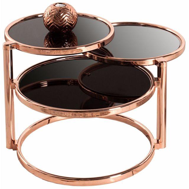 Comforium Table d'appoint design modulable en métal et verre coloris cuivre et noir