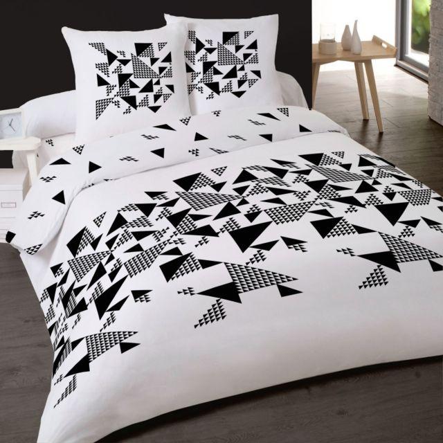 linge usine housse de couette triangle noir et blanc multicolore 200cm x 200cm pas cher. Black Bedroom Furniture Sets. Home Design Ideas