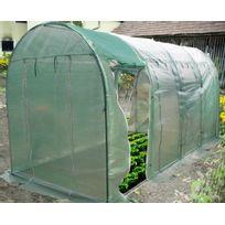 Habrita - Serre jardin tunnel 4 saisons ventilée à l'aide de 8 panneaux latéraux ouvrants 2x4,5 M / polyéthylène vert renforcé 140 gr/m2