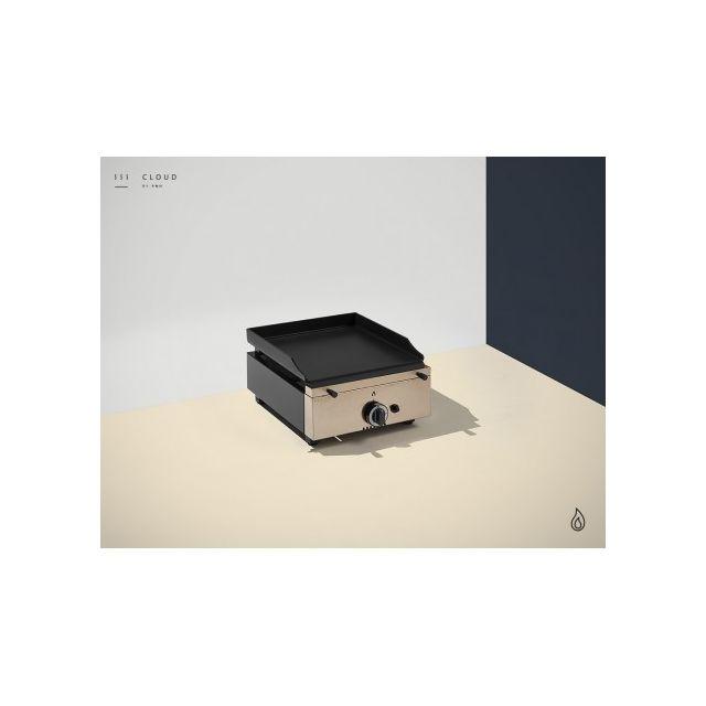 Pinha2 Plancha à gaz inox - 1 brûleur - Plaque Lisse 14 mm - 400 x 455 x 230 mm Or Inox