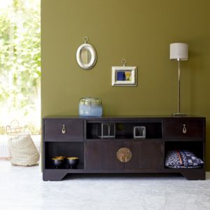 tikamoon meuble tv en bois d 39 acajou 130 yong pas cher achat vente meubles tv hi fi. Black Bedroom Furniture Sets. Home Design Ideas