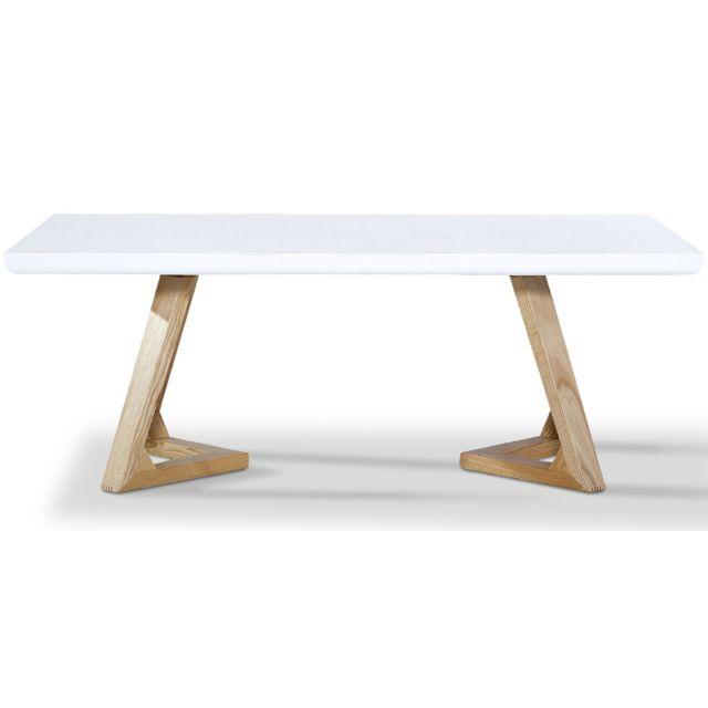 La Maison Du CanapÉ Table basse bois/laqué Dune - Frêne/Blanc - Bois clair