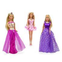 Jenny - Garde-robe pour poupée mannequin : Accesoires et 3 robes dont robe violette