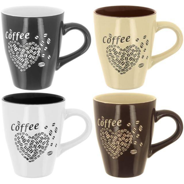 promobo lot ensemble 4 mug tasse a caf design grain de caf forme coeur noir pas cher achat. Black Bedroom Furniture Sets. Home Design Ideas
